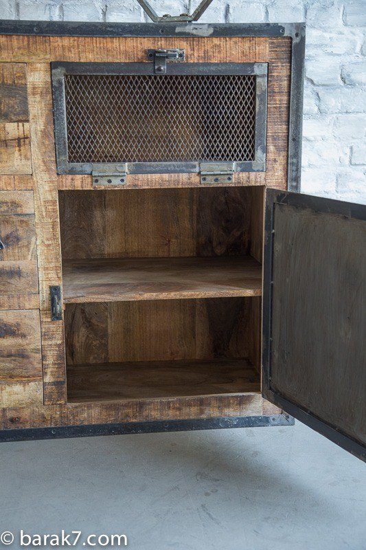 Industrial furniture industrial sideboard with doors and antique finish b - Buffet industriel metal ...