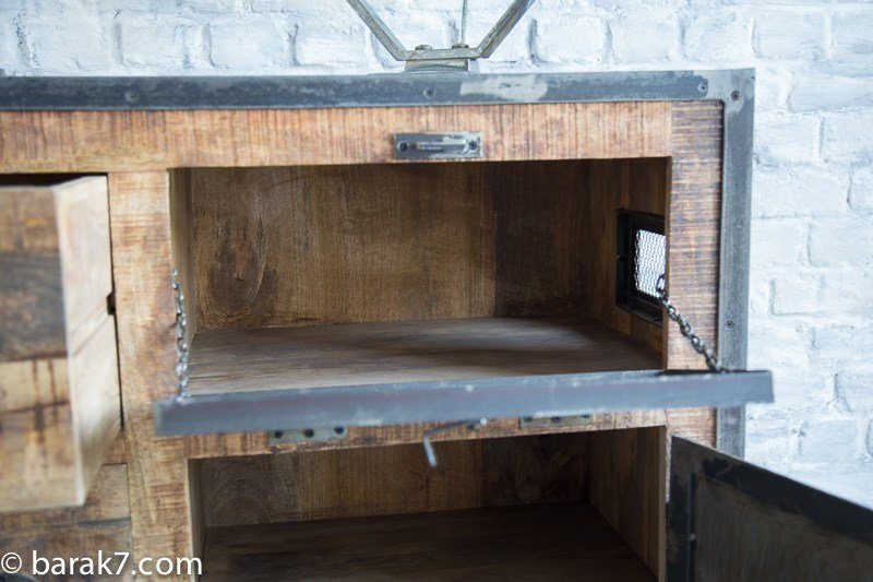 Industrial sideboard with doors and antique finish
