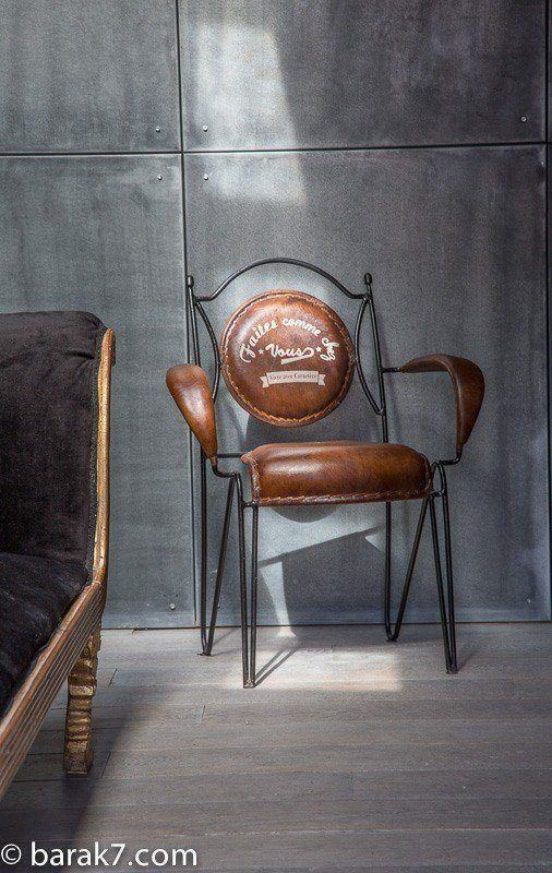 B a r a k 39 7 industrial armchair selection of for Chaise metal et cuir