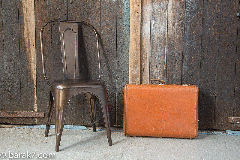 Industrial metal chair with copper finish