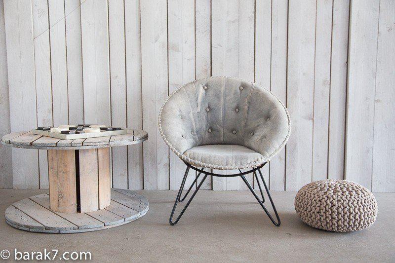 Industrial round armchair