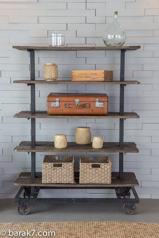 industrial furniture industrial shelving unit in wood and metal barak 39 7. Black Bedroom Furniture Sets. Home Design Ideas