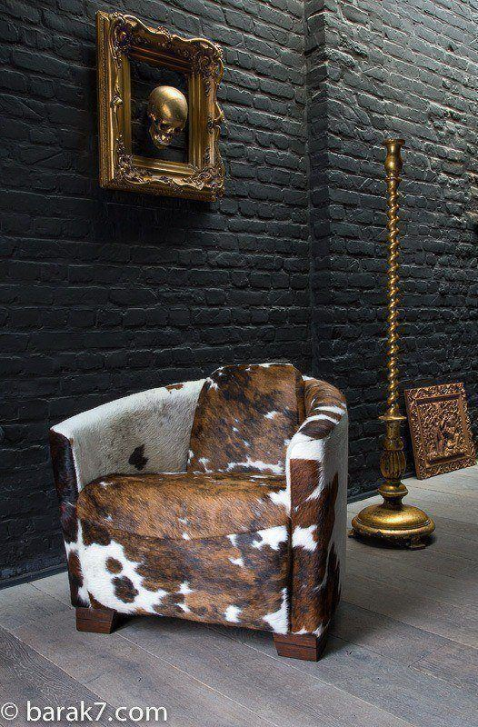 Aviator chair with cowhide