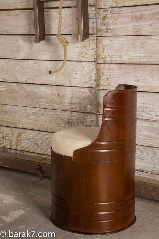 Industrial drum chair with bronze finish