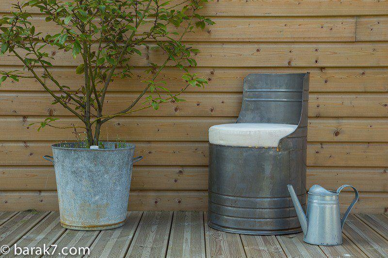 Industrial metal drum chair