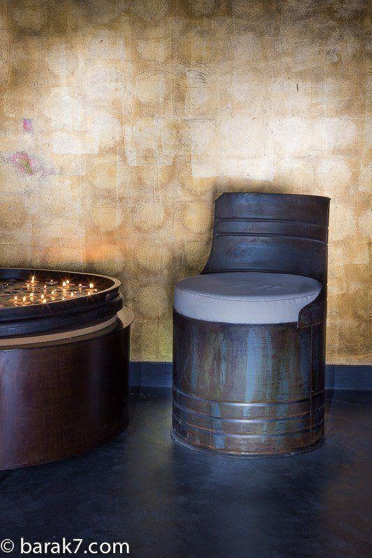 Industrial drum chair with carbon rust finish