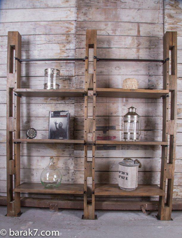 Industrial furniture large industrial wall shelving unit barak 39 7 - Etagere fermee murale ...