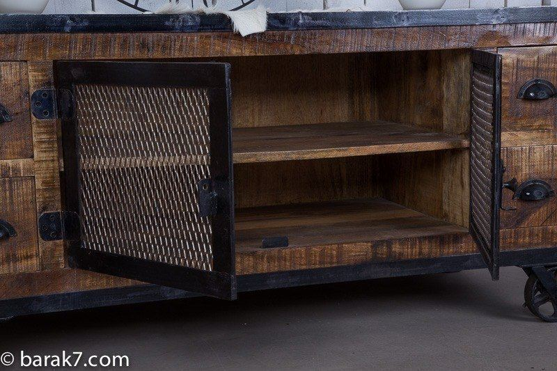Industrial TV stand with 4 drawers and carbon finish
