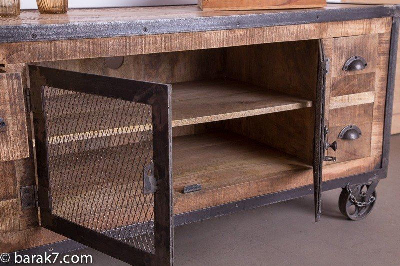 Industrial TV stand with 4 drawers and antique finish