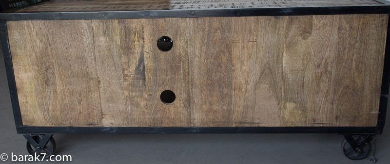 Industrial TV stand with 6 drawers and carbon finish