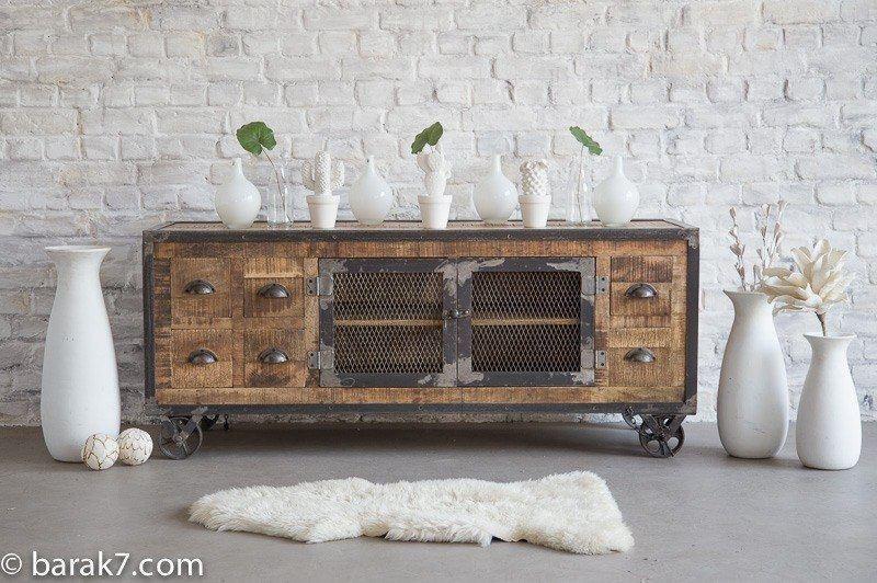 Meuble tv industriel 6 tiroirs finition antique barak 39 7 for Meuble 6 tiroirs