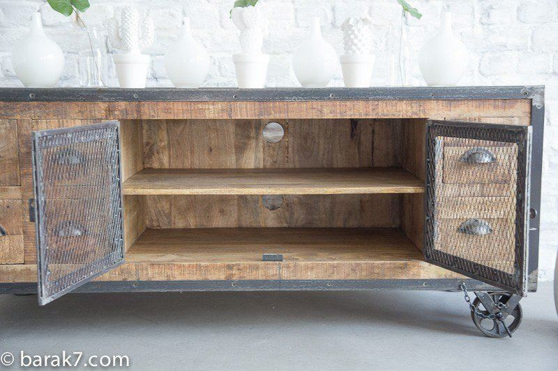 Industrial TV stand with 6 drawers and antique finish