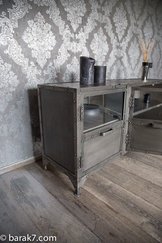Industrial furniture industrial tv stand constellation for Meuble tv original