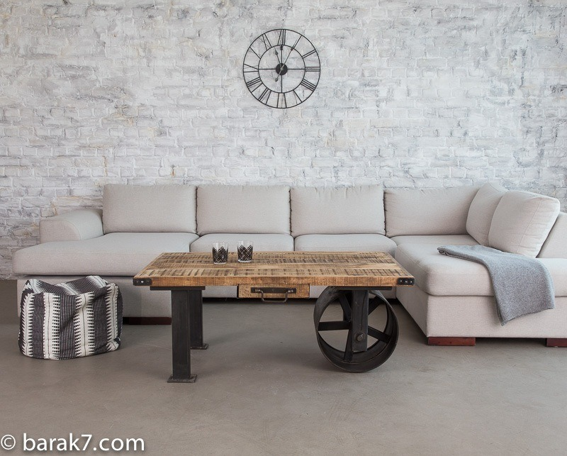 Table basse industrielle roue noire barak 39 7 - Faire une table industrielle ...