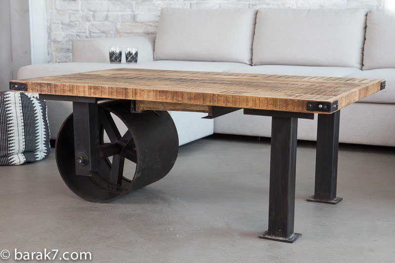 Industrial furniture industrial coffee table with large for Roues pour table basse