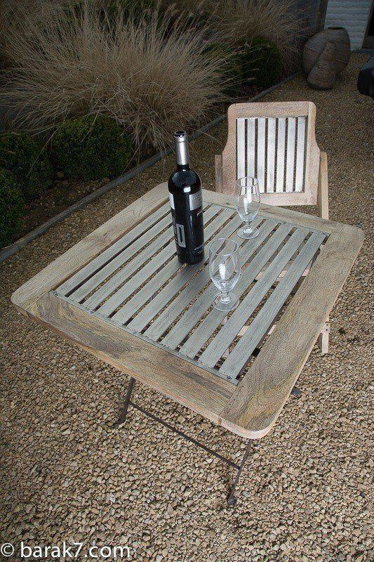 Industrial garden table with silver finish