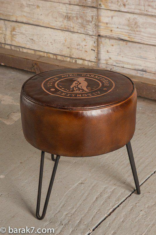 "Industrial leather stool ""Leitmotiv"""