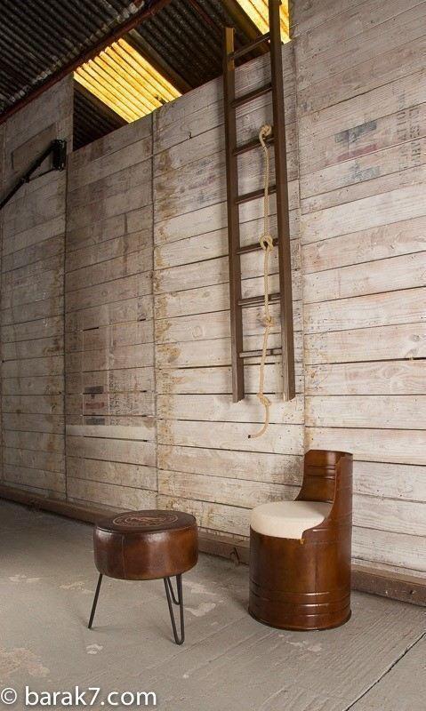 "Industrial leather stool ""Leitmotiv"""