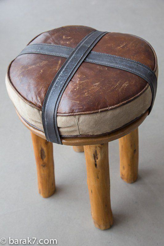 Industrial leather and log stool
