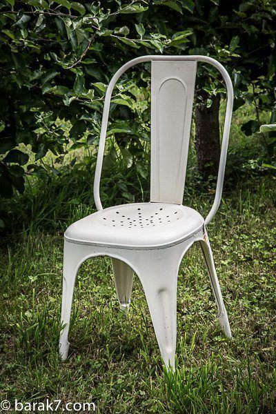 Industrial white metal chair