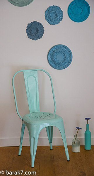 Industrial mint metal chair