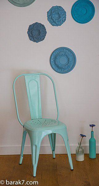 Industrial mint metal chair