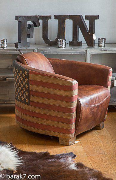 fauteuil aviateur en cuir et drapeau am ricain. Black Bedroom Furniture Sets. Home Design Ideas