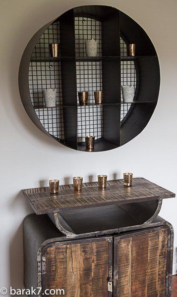 Industrial furniture carbon round wall shelf barak 39 7 for Decoration murale vannerie